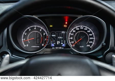 Novosibirsk, Russia - June 19, 2021: Mitsubishi Asx, Car Panel, Digital Bright Speedometer, Odometer