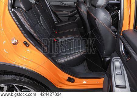Novosibirsk, Russia - June 19, 2021: Subaru Xv, Leather Interior Design, Car Passenger And Driver Se