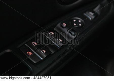 Novosibirsk, Russia - June 19, 2021: Bmw X6,  Close Up Of A Door Control Panel In A New Car. Arm Res
