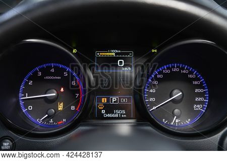 Novosibirsk, Russia - June 19, 2021: Subaru Legacy, Car Panel, Digital Bright Speedometer, Odometer