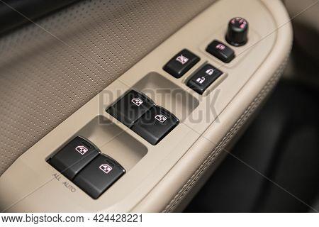 Novosibirsk, Russia - June 19, 2021: Subaru Legacy,  Close Up Of A Door Control Panel In A New Car.