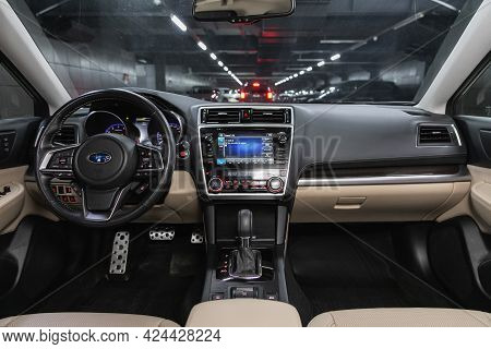 Novosibirsk, Russia - June 19, 2021: Subaru Legacy, Steering Wheel, Shift Lever, Multimedia  Systeme