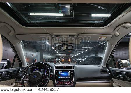Novosibirsk, Russia - June 19, 2021: Subaru Legacy, Car Interior. Rear View Of The Windshield, Hatch