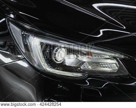Novosibirsk, Russia - June 19, 2021: Subaru Legacy, Exterior Detail . Close Up  Of Modern  Car Xenon