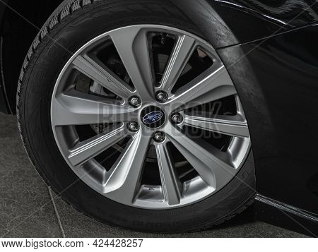 Novosibirsk, Russia - June 19, 2021: Subaru Legacy, Close-up Of The Alloy Wheel. Photography Of A Mo