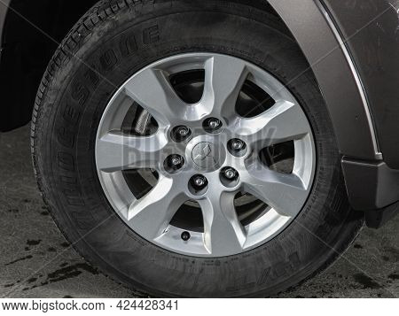 Novosibirsk, Russia - June 19, 2021: Mitsubishi Pajero, Close-up Of The Alloy Wheel. Photography Of