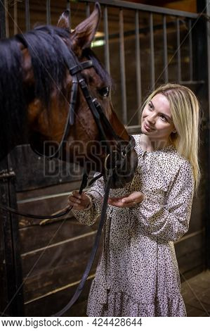 A Young Rider Woman Blonde With Long Hair In A Dress Posing With Brown Horse Inside Stable, Russia