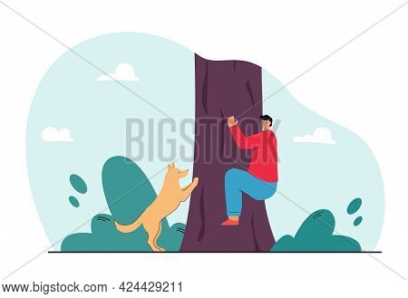 Man Hiding From Dog And Climbing Tree Flat Vector Illustration. Fear Of Animals, Attack, Aggressive