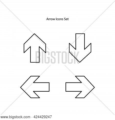 Arrow Icons Set Isolated On White Background. Arrow Icon Thin Line Outline Linear Arrow Symbol For L