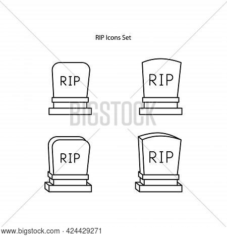 Black Line Tombstone With Rip Written On It Icon Isolated On White Background. Grave Icon.