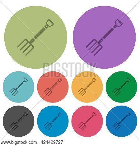 Pitchfork Darker Flat Icons On Color Round Background