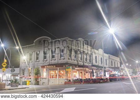 Auckland New Zealand -june 16 2021; Night Scnes Of Buildings And Street Scene In Devonport Corner Wi