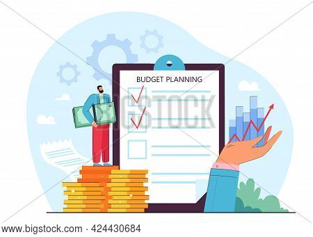 Checklist Of Budget Plan On Clipboard Flat Vector Illustration. Tiny Man Standing On Gold Coins, Hol