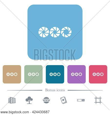 Set Aperture Size White Flat Icons On Color Rounded Square Backgrounds. 6 Bonus Icons Included