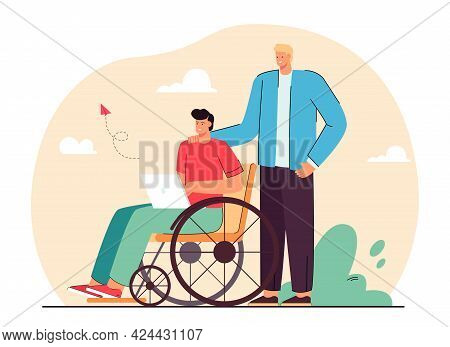 Volunteer Helping Man In Wheelchair Flat Vector Illustration. Disabled Person Using Laptop And Socia
