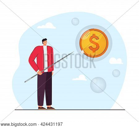 Man Piercing Bubble With Coin Flat Vector Illustration. Happy Male Person Holding Needle. Bankruptcy