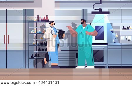 Research Scientist Team Working In Lab Researchers Making Chemical Experiments In Laboratory Molecul