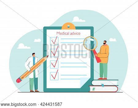 Medical Advice Checklist On Clipboard Flat Vector Illustration. Doctor Standing With Pencil, Patient