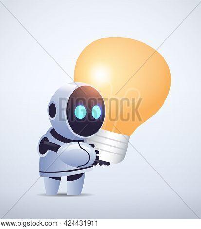 Cute Robot Cyborg Holding Light Lamp New Project Creative Idea Artificial Intelligence Technology