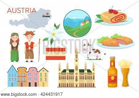 Traditional Symbols Of Austria Cartoon Vector Illustration. Austrian National Flag, Map, Traditional