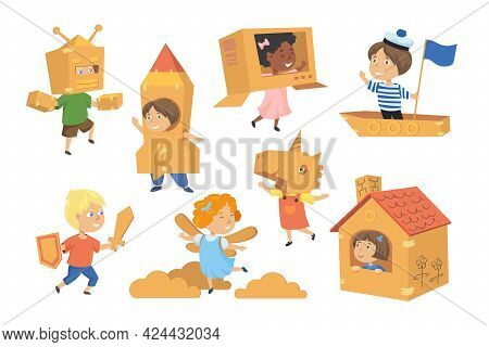 Kids Making Costumes From Boxes Vector Illustrations Set. Creative Children With Boat, Astronaut Sui