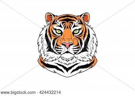 Bengal Tiger Head With Green Eyes, Isolated Tiger Face. Predatory Wildcat. Tiger Silhouette, Logo An