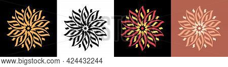 Abstract Calligraphic Flower Ornament. Golden Mandala And Bloom, Calligraphic Pattern. Set Of Elegan