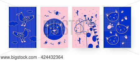 Set Of Contemporary Art Posters With Cute Animals. Bear, Giraffe, Cat, Exotic Bird Vector Illustrati