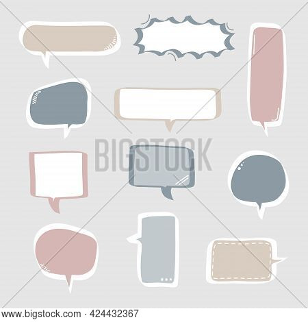 Collection Set Of Hand Drawing Frame Border, Blank Speech Bubble Balloon With Quotation Marks, Think