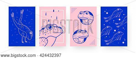 Set Of Contemporary Art Posters With Cute Frogs. Amphibian Jumping And Swimming Vector Illustrations