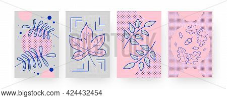 Set Of Contemporary Art Posters With Autumn Leaves And Acorns. Fallen Foliage Vector Illustrations I