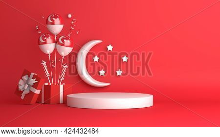Singapore Independence Day Display Podium Decoration Background With Balloon Crescent Stars Gift Box