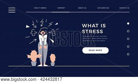 Stress, Depression, Bad Mood, High Stress Level Web Template. Screaming Angry Woman Is Under The Str