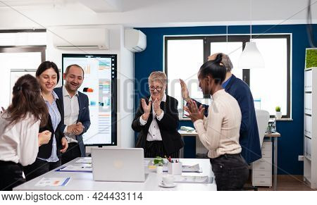 Motivated Happy Diverse Business Team People Clapping Celebrating Success At Corporate Meeting. Mult