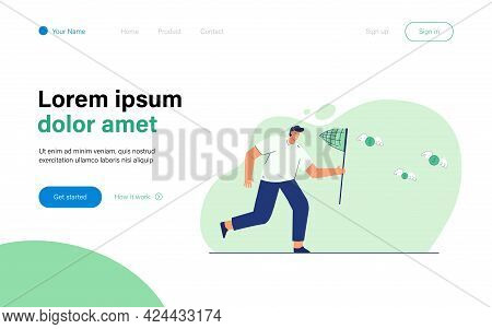 Man Catching Winged Coins With Butterfly Net. Flat Vector Illustration. Male Cartoon Character Achie