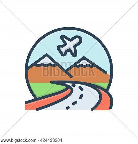 Color Illustration Icon For Tourism Touring Ramble Excursion Travel