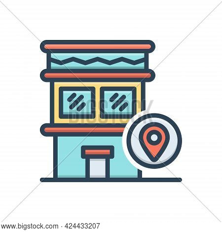 Color Illustration Icon For Address Trace Location Place Position Waypoint