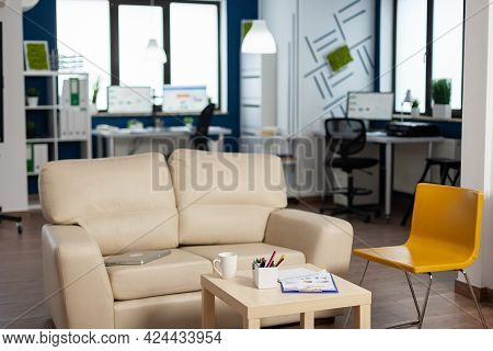 Interior Of Empty Creative Office With Dusky Light, New Business, Start Up Company With No People In