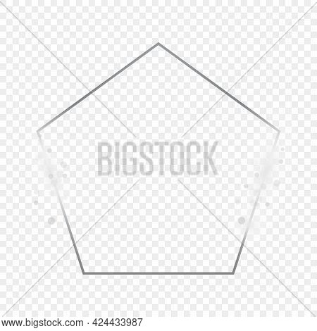 Silver Glowing Pentagon Shape Frame With Sparkles Isolated On Transparent Background. Shiny Frame Wi