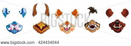Face Filter With Animal Masks For Selfie Photo, Video Chat And Social Media Content. Vector Cartoon
