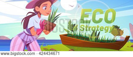 Eco Strategy Cartoon Banner, Woman Volunteer Planting Trees In Old Wooden Boat On Sea Beach. Forest