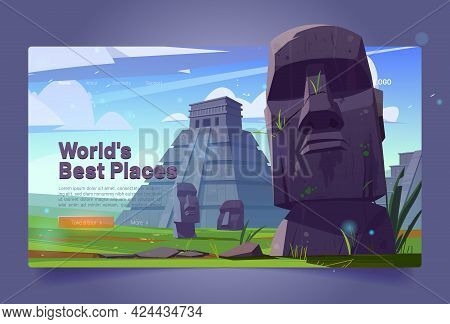 World Best Places Cartoon Landing Page. Moai Statues And Pyramids, Republic Of Chile Travel Famous L