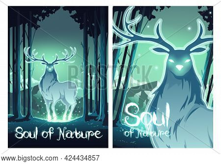 Soul Of Nature Cartoon Posters, Magic Deer In Night Forest, Mystical Stag With Glow Eyes And Body, W