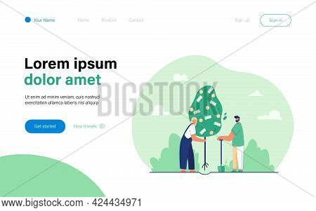 Married Couple Planting Money Tree. Flat Vector Illustration. Man With Shovel And Woman Holding Tree
