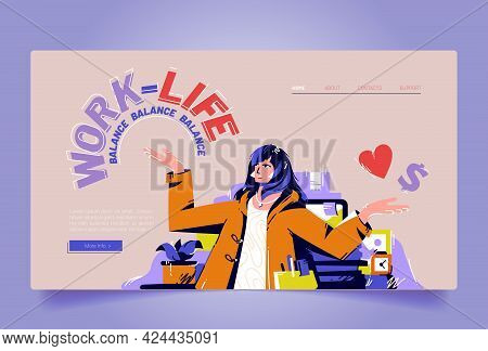 Work And Life Balance Cartoon Landing Page, Businesswoman Sitting At Workplace Solve Dilemma Choosin