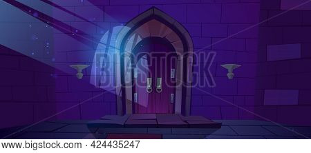 Dungeon, Medieval Castle Night Interior With Moonlight Fall On Wood Arched Door And Barred Window Sh