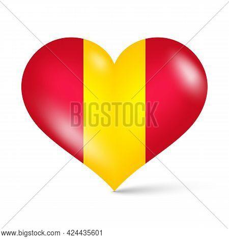 3d Glossy Heart Shape National Flag Of Spain Vector Illustration