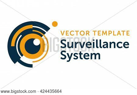 Surveillance System Or Spy Video Recording Equipment Logo Template - Ey Of Beholder With Water Rings