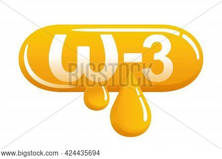 Omega-3 Icon - Fatty Acid, Fish Oils Emblem For Vitamines Packaging