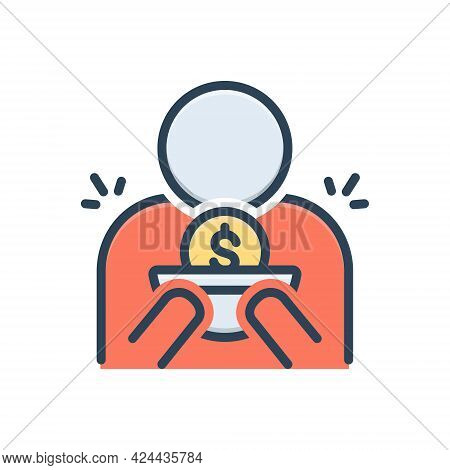 Color Illustration Icon For Indigent Beggarly Penniless Needy Straitened Necessitous Rich